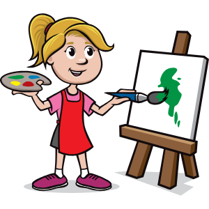 A girl painting on a canvas