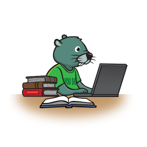 Gopher Green at a desk